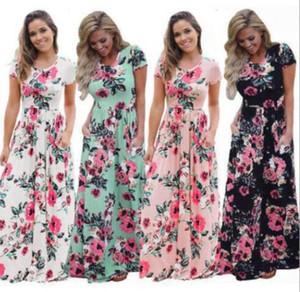 Yeni Tasarımcı Dressess Yaz Kadınlar Çiçek Baskı Kısa Kollu Boho Moda Akşam Önlük Parti Uzun Maxi Elbise Moda Sundress Giyim 5 Renk