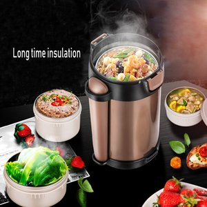Double-Wall Vacuum Lunch Box 24 Hours Insulation Food Container Adult Kids Thermos Bucket Free Heat Preservation Bag and Spoon T200710