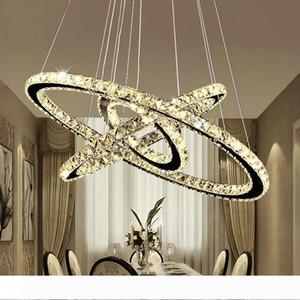 Modern DIY K9 Crystal Chandelier LED Round Circel Pendant Lighting 3 2 Rings Hanging Lamp Lustre Stainless Steel Kitchen Chandelier