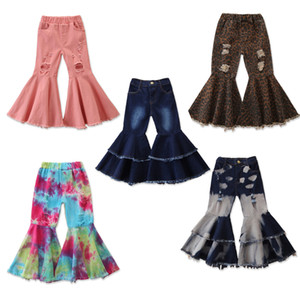 Children Girls Jeans Toddler Baby Kids Children Girls Clothes Bell Bottom Hole Ripped Ruffles Flare Denim Jeans Pants Trousers