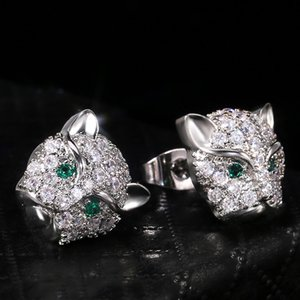 AprilGrass Brand Delicate Leopard Head with Green Eyes Stud Earrings for Female Micro Paved with CZ Stone Classic Animal Earring Jewelry