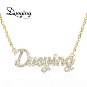 Duoying 2019 a catena per le donne di pietra Collana Zirconia collane ciondolo personalizzato Le donne con i nomi di lettere iniziali MX190730