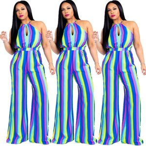 2020 New Clothing Cheap China wholesale European and American Women's Jumpsuits & Rompers Sexy halter colorful striped sleeveless jumpsuit