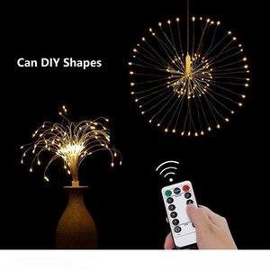 Hanging Starburst String Light 100LEDs DIY Firework Copper Fairy Remote Controlled Garland Christmas Lights Outdoor Twinkle Lights