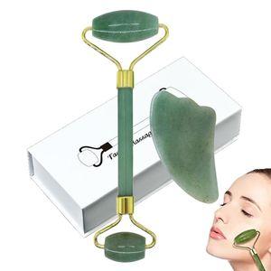 EPack Jade rolo Olhos Facial Massage Kit Pele Rolo principal dobro Jade rolo Gua Sha face da ferramenta Máscara Escova para Eyeball Neck Face