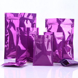 100Pcs Glossy Purple Grocery Retail Aluminum Foil Zip Lock Packaging Bag Scented Tea Mylar Heat Seal Storage Packing Bag
