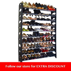 50 Pair 10-Tier Shoe Rack Shelf Storage DIY Large Shoe Cabinet Tower Shoes Organizer Space Saving Furniture for Home - US Stock T200413