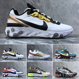 2019 React Element 87 Volt 55 Game Royal Taped Seams Running Shoes For Women men 55s Blue Chill Trainer 87s Sail Sports Sneakers H8K1E