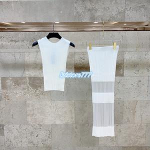 2020 kadın kız örgü ince takım elbise pulover kazak kolsuz gömlek yelek üstleri + uzun etek moda tasarım streç viskon iki parçalı tee elbise set