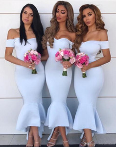 Elegant Off The Shoulder Satin Mermaid Bridesmaid Dresses 2019 Ruched High Low Formal Party Wedding Guest Maid Of Dresses BM0728