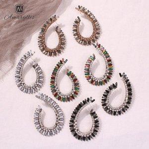 Amaiyllis Große hohle Metallwassertropfen-Bolzen-Ohrringe für Frauen-Partei Strass Statement Ohrringe Vintage Geometric 2PBp #