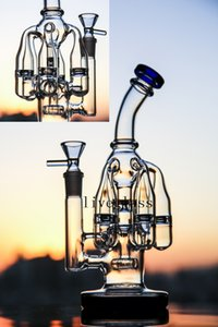 Blue 5 Honeycomb Recycler Glass Oil Rigs Beaker Base Bongs Hookahs Glass Water Pipes Smoking Accessories Pipes 9.5 Inch 14MM Glass Bowl