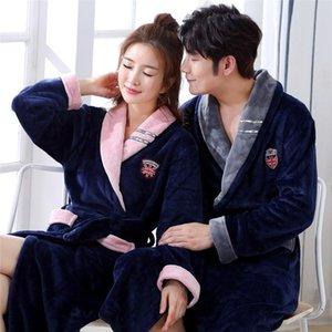 Plus Size Exquisite Flannel Lovers Kimono Robe Gown Sleepwear Winter Keep Warm Women Bath Gown Homewear Casual Soft Nightwear