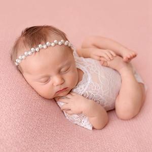Новорожденный ребенок кружева Ромпер Baby Girl Cute Petti Rompers малышей Фото Одежда Soft Lace Bodysuits Алмазный Hairband HHA1451