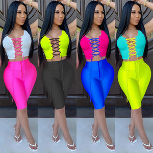 Women sexy 2 two piece outfits set strappy hollow out slim sleeveless vest skinny biker shorts streetwear nightclub suits plus size clothing