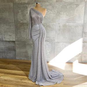 Argent une épaule 2021 Robes de bal à manches longues sirène robe de soirée pailletée Glitter arabe Party Dress formelle