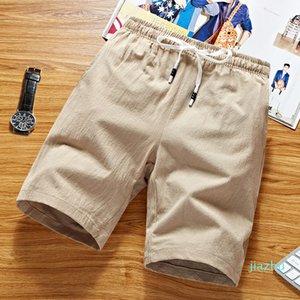 Hot Sale Men's Summer Pure Plus Size Elastic Linen & Cotton Shorts Men's Casual Simple Style Fashion Knee Length Shorts
