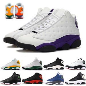 Новая Аврора Зеленая площадка 13s Jumpman 13 мужчин Баскетбол обувь Бред колпачок и платье Flint суда фиолетовый NakeskinИорданияRetros