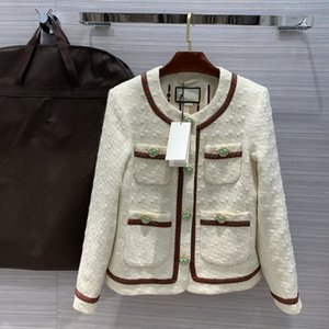 European and American women's wear 2020 summer new style Long sleeve fine button with many pockets Fashionable tweed coat