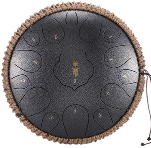 Steel Tongue Drum 15 Notes 13 Inch Harmonic Handpan Drum, Percussion Instrument, Tank Drum Chakra Drum for Meditation, Yoga and Zen with Tra
