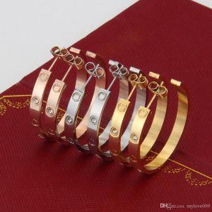 2018 Brand fashion stainless steel big screw earrings silver rose gold stud love earrigns for women lovers cool punk jewelry