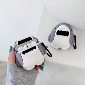 3D Cute Shark Silicone Storage Bag for TWS Apple Airpods 2 Pro Bluetooth Headset Cover Animal Print Pouch Shell with Anti-lost Carabiner