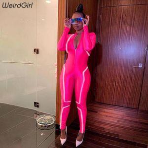 women reflective striped jumpsuits fitness zipper turtleneck full sleeve elastic femme outfit sportwear new autumn