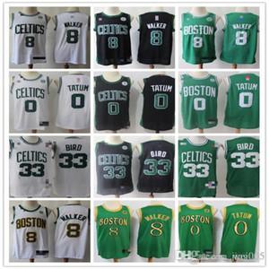 MensBostonCeltics33 LarryBird 8 KembaWalker 0 JaysonTatum Green white Basketball Shorts Basketball Jersey