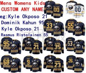 Buffalo Sabres Jersey Rasmus Ristolainen Jersey Dominik Kahun Kyle Okposo Colin Miller Hommes Bleu Blanc Hockey Maillots personnalisés Cousu