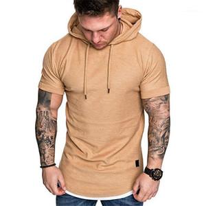 Short Sleeve Mens Hoodies Harajuku Solid Color Hooded Sweatshirts Mens 2020 Pullover Casual Hoodies Summer New