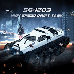 SG 1203 RC Tank Car With Gull-wing Door Drift 2.4G 1:12 High Speed Full Proportional Control Vehicle Models 5M Wading Depth Toy Y200317