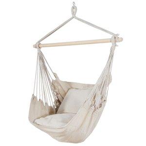 2 쿠션 베이지 색 해먹 의자 스윙 매달려 로프 그물 의자 베란다 파티오