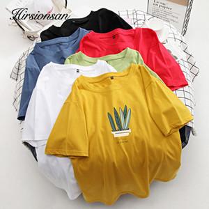 Hirsionsan Vintage Gömlek Kadınlar Bitki Yumuşak Casual% 100 Pamuk Tees Chic Boy Yeni MX200721 Tops T Gömlek Harajuku Kısa kılıfı yazdır