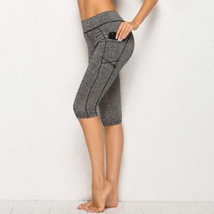 Kadınlar Yoga Pantolon Yeni Gelen Kadın Dikiş Spor Yüksek Bel diz boyu Yoga Pantolon Günlük Stil Pant Feminina Oznk # Cepler