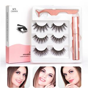 Magnetic Liquid Eyeliner & 3 pairs Five Magnetic False Eyelashes & Tweezer Set Waterproof Long Lasting Eyeliner False Eyelashes
