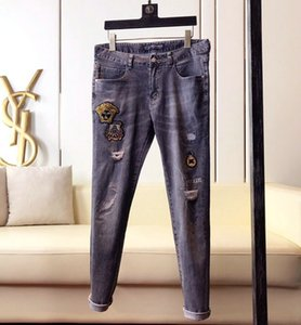 New trendy menswear brand personality casual regular jeans menswear designer slim embroidery denim straight pants size 28-38