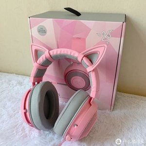 Новый Razer Kraken PRO Кристалл розового игровые наушников Девочка уши Cat стерео проводной музыка игра гарнитура для ПК мобильного телефона