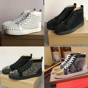 Red Bottom Mode Schuhe hoch oben Niete beiläufige Schuh-Spikes mit Nieten Schwarz Rot Weiß Lederturnschuh Niet Suede flach Männer Frauen Stylist Schuh