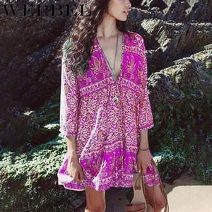 WEPBEL suelta con cuello en V vestidos impresos Boho mini vestido atractivo del vestido de las señoras del verano de la vendimia manera de las mujeres de Bohemia
