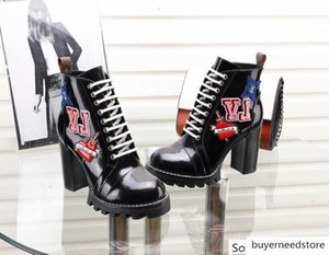 Women Letter Buckle Printing Rivets High Heel Short Cow leather BLACK HEART Army Boots 1A4MM6