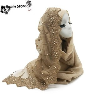 1PC Solid viscose scarf with lace pearl scarves muslim women hijab patchwork striped eid bandana shawl fast shipping 10Colors