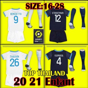 enfants Olympique De Marseille Maillot OM Futbol Jersey Çocuk Seti 2021 Maillot De Ayak 20 21 PAYET BENEDETTO SAKAI KAMARA Ücretsiz Gömlek pantolon