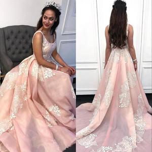 Scoop Neck Lace Pink Long Evening Dresses Tulle Lace Applique Ruched Evening Gowns Plus Size Formal Dress Vestidos De Festa
