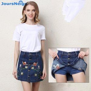 JoursNeige Denim Shorts Skirts Summer Women 2020 New Embroidered Anti Emptied Jeans Short Skirts Female Mid Waist Denim Shorts