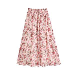 Klacwaya Femmes 2020 Fashion Chic imprimé floral plissé Jupe mi-longue Vintage haute taille élastique avec cordon de serrage avec doublure Femme Jupes