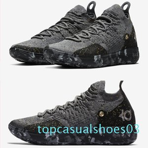 Top qualité KD 11 Chaussures Casual Or Splatter Kevin Durant 11s Designer chaussures multi-couleur / Metallic Gold Hommes taille 7-12 t03