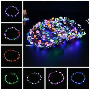 Flashing LED Strings Glow Flower Crown Headbands Light Party Rave Floral Hair Garland Luminous Wreath Wedding Flower Favor RRA2622