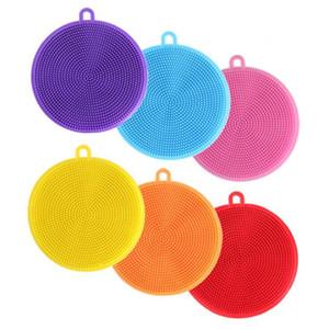 De silicona para lavar platos Cepillo Cepillo redondo depurador para lavar la vajilla de múltiples funciones de la legumbre de fruta estropajos de cocina Cepillo de limpieza DHA348