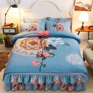 Bed Skirt Thickened Brushed Four-piece Lace Twill Bed Skirt Cover bedding set luxury