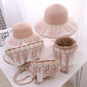 Children's sunscreen girl's Sunscreen straw summer beach wave straw daisy lace sun hat cool hat